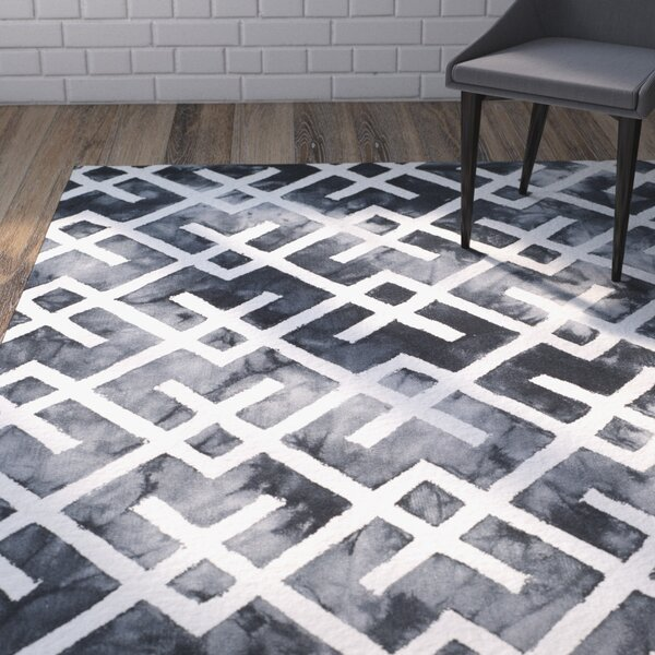 Sirius Hand-Tufted Graphite/Ivory Area Rug by Wrought Studio