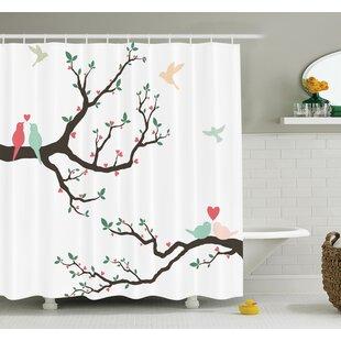 Love Retro Birds on Branch Art Shower Curtain Set By Ambesonne