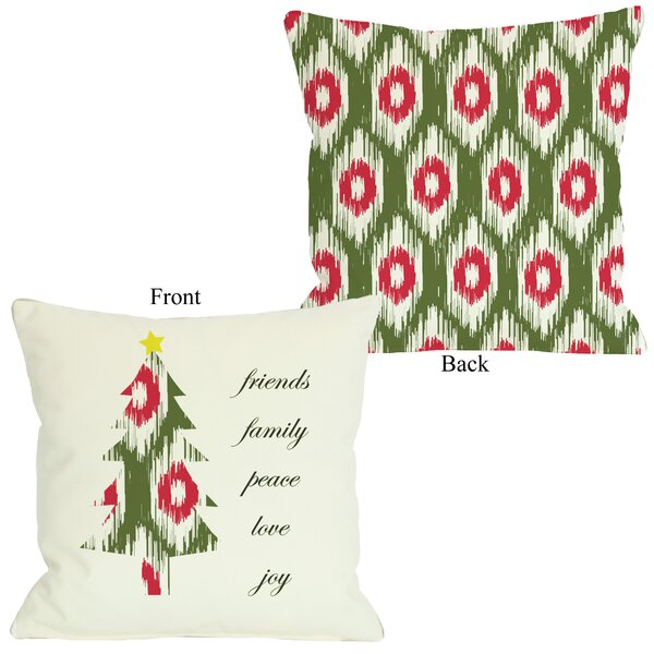 Friends Family Peace Ikat Christmas Tree Reversible Throw Pillow by One Bella Casa