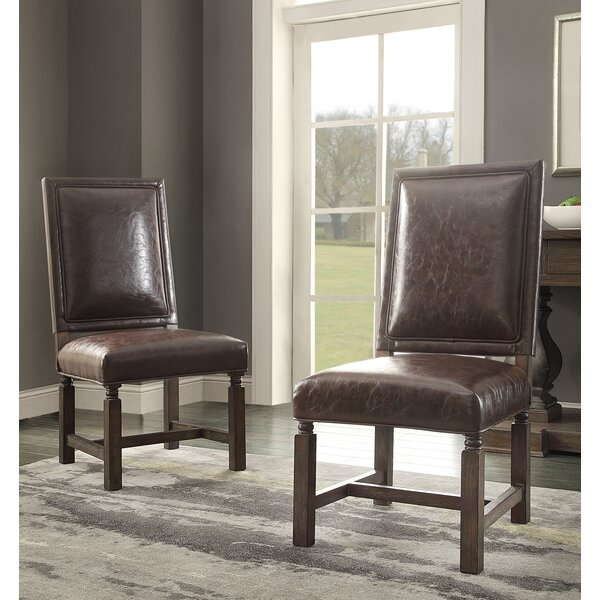 Distressed Upholstered Dining Chair (Set of 2) by Hazelwood Home