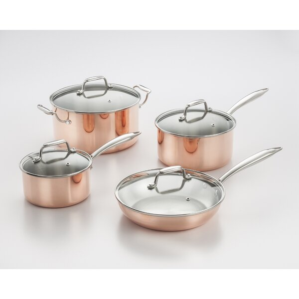 Professional Quality Copper Tri-Ply 8 Piece Cookware Set by Cook Pro
