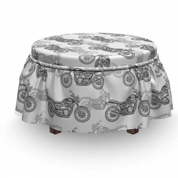 Compare Price Motorcycle Details In Grayscale 2 Piece Box Cushion Ottoman Slipcover Set