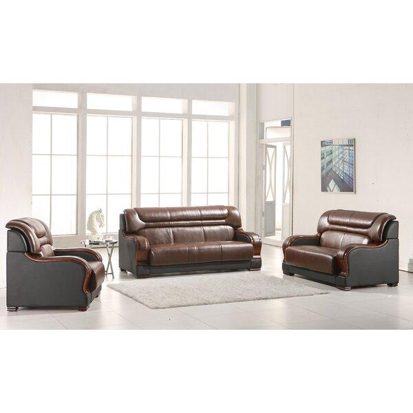 Cahlil Leather 3 Piece Living Room Set by Orren Ellis