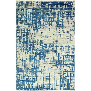Jagtap Hand Knotted Cotton Blue/Biege Area Rug