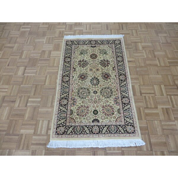 One-of-a-Kind Padro Pak Kashan Hand-Knotted Wool Gold Area Rug by Bloomsbury Market