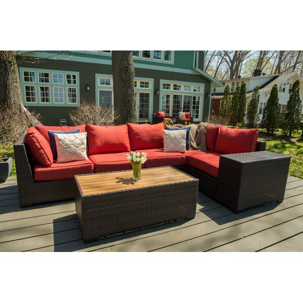 Coast 7 Piece Rattan Sectional Seating Group with Cushions by Rosecliff Heights