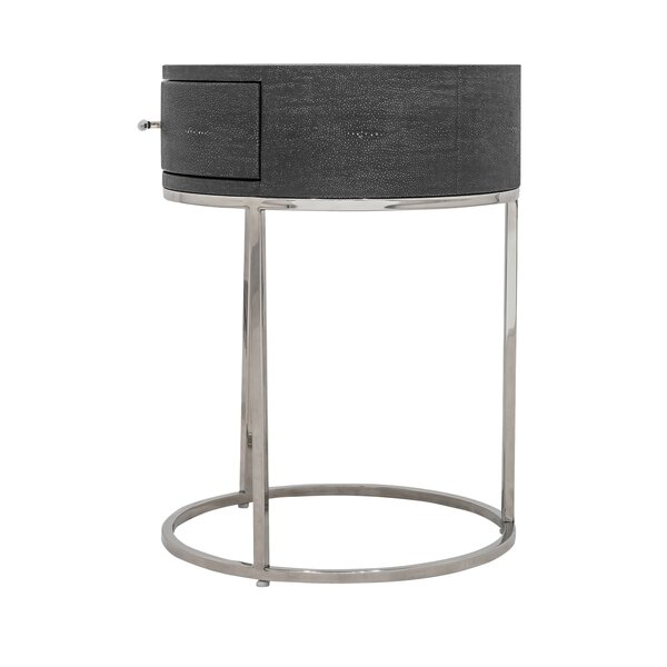 Gladney Round 1 Drawer Nightstand by Everly Quinn
