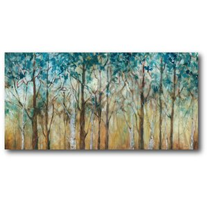 'Sunlit Birch Grove' Painting Print on Wrapped Canvas by Courtside Market