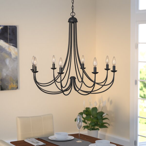 Emilia 8 - Light Candle Style Classic / Traditional Chandelier by Three Posts Three Posts