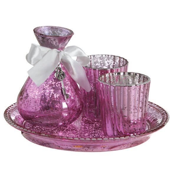 Glass Boudoir Set with Tray (Set of 3) by Cypress Home