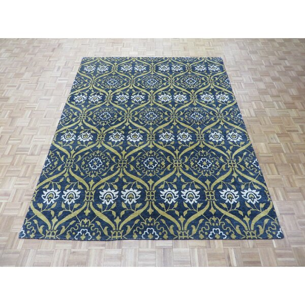 One-of-a-Kind Josephson Transitional Oushak Hand-Knotted Black Area Rug by Canora Grey