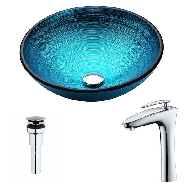 Enti Glass Circular Vessel Bathroom Sink with Fauc