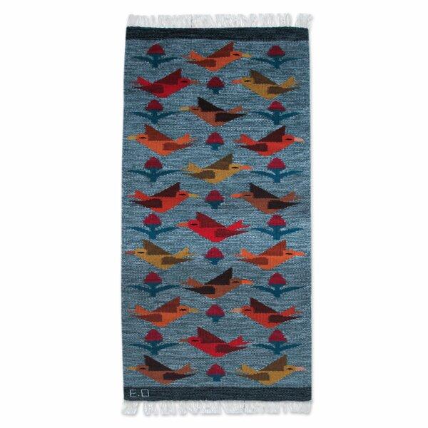 Bird Theme Hand-Woven Blue Area Rug by Novica