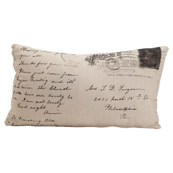 Auron Postcard Cotton Lumbar Pillow by Provence Home Collection