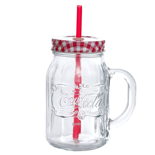 Coca-Cola Country Classic 20 oz. Glass Mason Jar with Lid and Straw (Set of 4) by Gibson