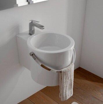 Bucket Ceramic Circular Vessel Bathroom Sink with Overflow by Scarabeo by Nameeks