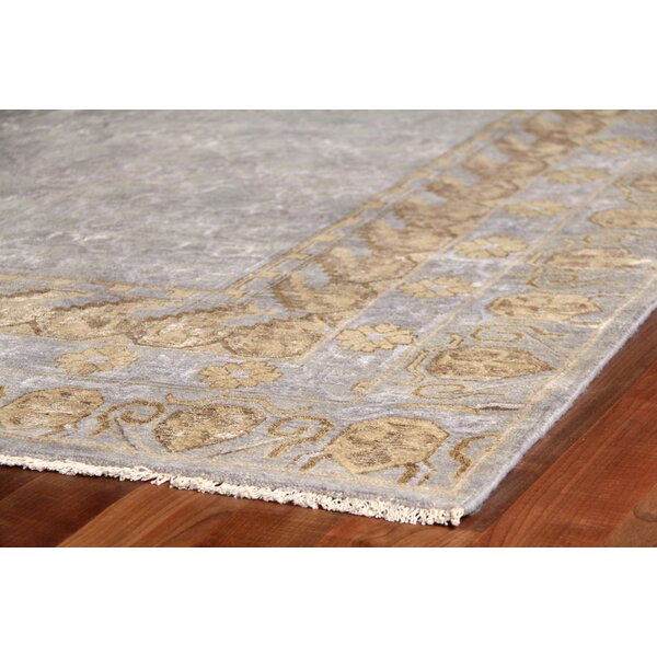 Khotan Hand-Knotted Wool Gray/Gold Area Rug by Exquisite Rugs