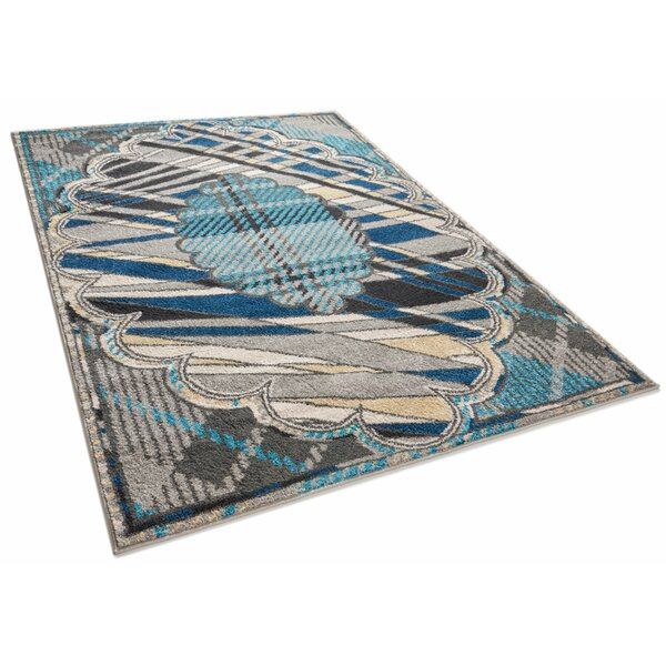 Vettore Leslie Modern Geometric Abstract Medallion Gray Area Rug by Well Woven