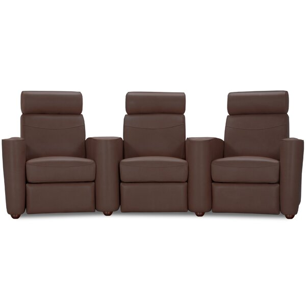 Leather Home Theater Sofa (Row Of 3) By Latitude Run