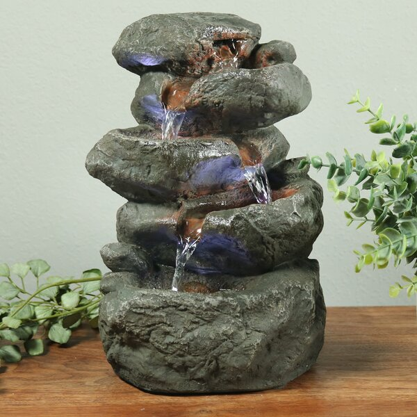 Resin/Fiberglass Stacked Rocks Tabletop Fountain with LED Light by Wildon Home ®