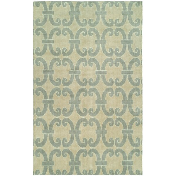 Andover Hand-Knotted Wool Beige/Blue Area Rug by Rosecliff Heights