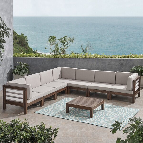 Pederson 8 Piece Outdoor Sectional Seating Group with Cushions by Longshore Tides
