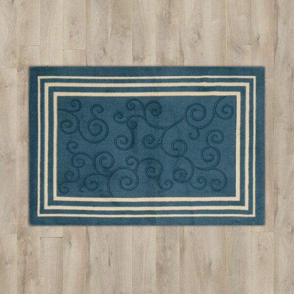 Poquonock Navy Scroll Area Rug by Charlton Home