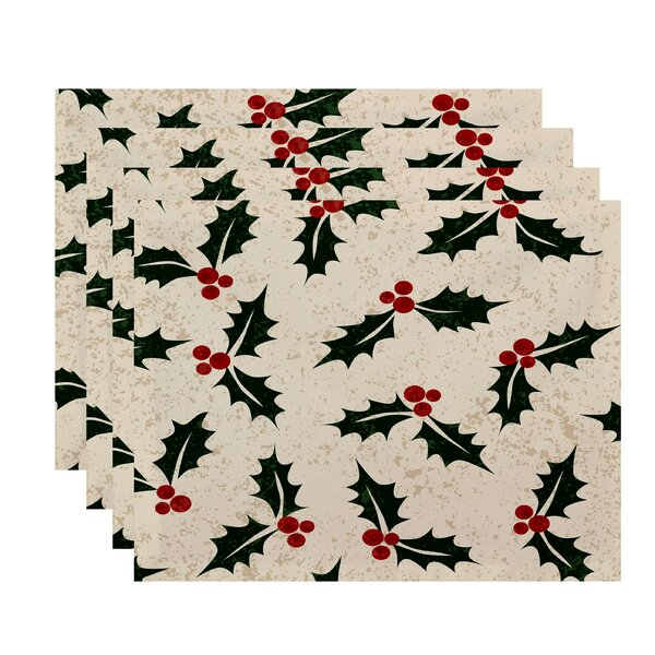 Beauchamp Square Jump for Joy Allover Holly Placemat (Set of 4) by Three Posts