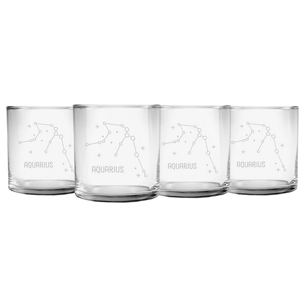 Riker Aquarius Constellation Slim Rocks 11.5 oz. Every Day Glass (Set of 4) by Wrought Studio