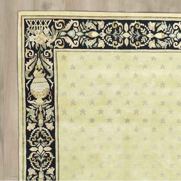 St. Regis Hand-Knotted Yellow/Black Area Rug by Astoria Grand