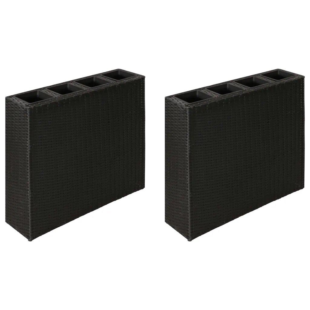 Bonilla 2 Piece Rattan Planter Box Set with Trellis