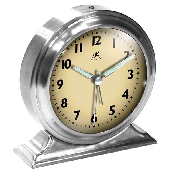 Metal Alarm Desktop Clock by Infinity Instruments
