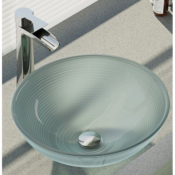Sparkling Glass Circular Vessel Bathroom Sink With Faucet by René By Elkay