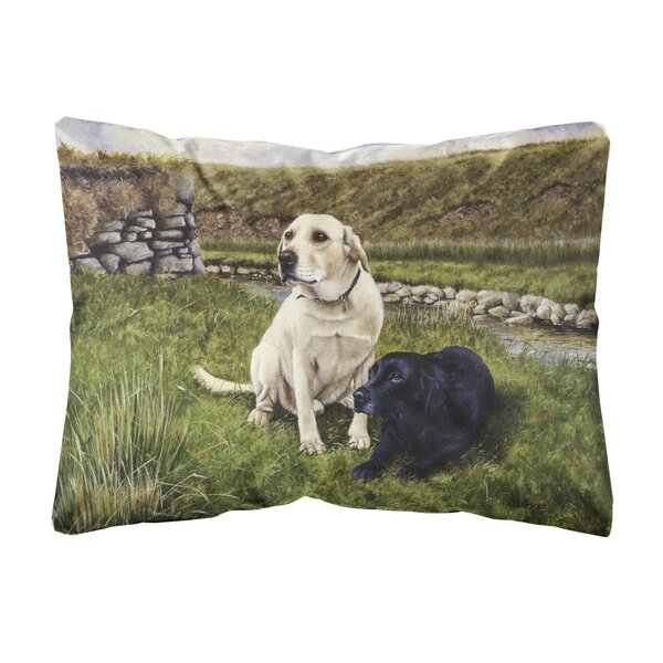 Meadows Labradors Fabric Indoor/Outdoor Throw Pillow by Winston Porter