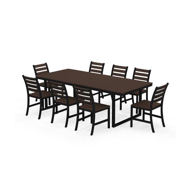 Alissa Outdoor 9 Piece Dining Set