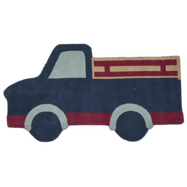 Ellery Truck Hand Tufted/Hand Loomed Wool Blue Area Rug by Zoomie Kids