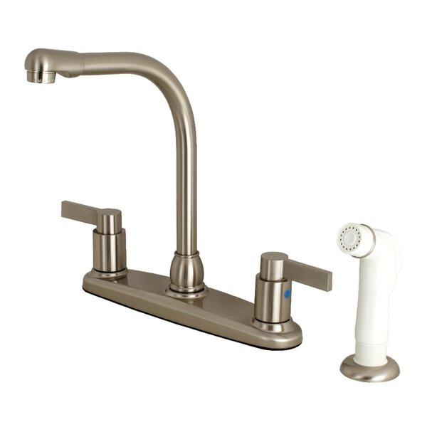 NuvoFusion High-Arch Pull Down Double Handle Kitchen Faucet With Side Sprayer By Kingston Brass