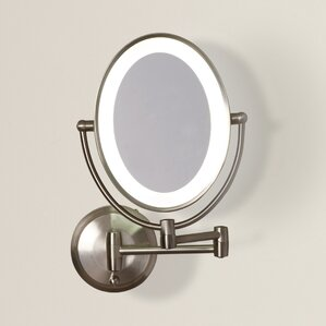howell cordless dual led lighted oval wall mount mirror with 1x and 10x