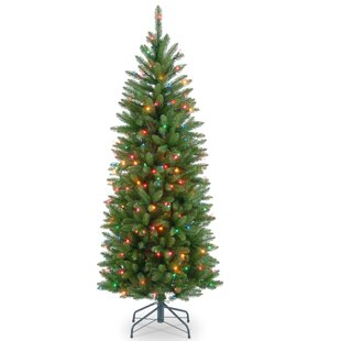green fir pencil artificial christmas tree with multi colored lights with stand