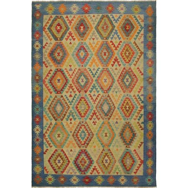 One-of-a-Kind Jorge Handmade Kilim Wool Beige/Blue Area Rug by Isabelline