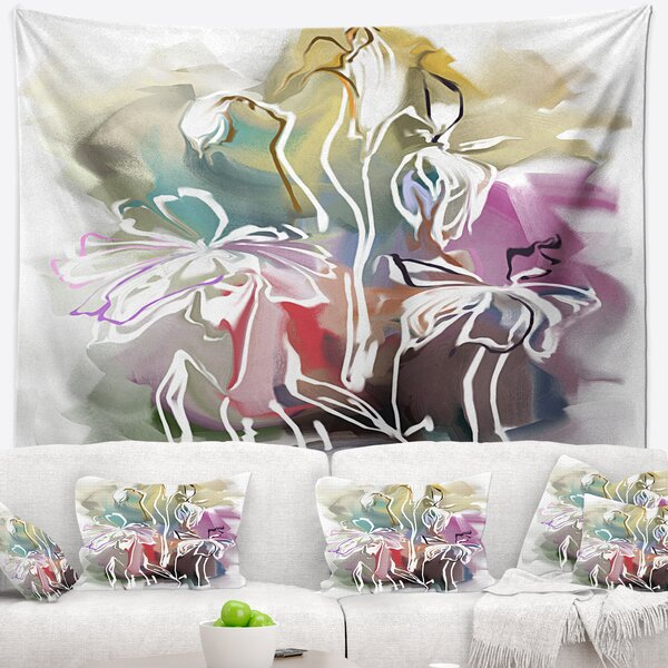 Floral Bunch of Abstract Textured Flowers Tapestry and Wall Hanging by East Urban Home