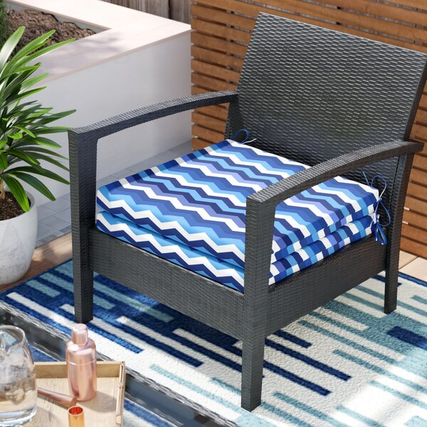 Wave Azure Indoor Lounge Chair Cushion (Set of 2)
