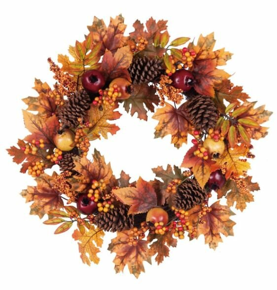 24 Autumn Leaves Pinecone Wreath by August Grove