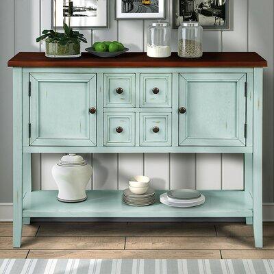 "Breakwater Bay Langport 46"" Wide 4 Drawer Acacia Wood Buffet Table  Color (Base/Top): Retro Blue/Brown"