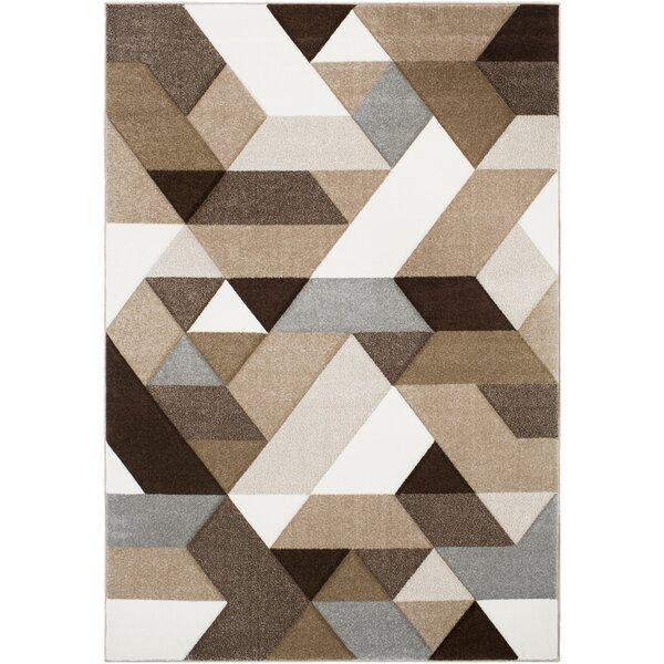 Mott Street Geometric Brown/White Area Rug by Wrought Studio