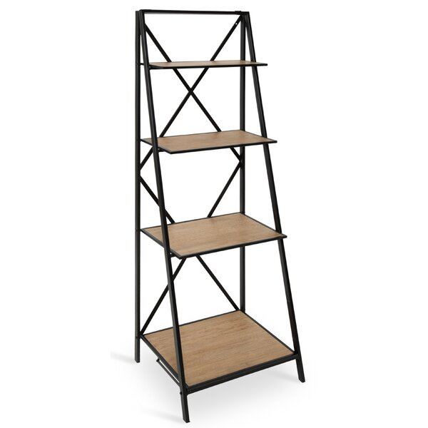 Ironton Farmhouse 4 Tiered Foldable Free-Standing Wood and Metal Etagere Bookcase by Gracie Oaks