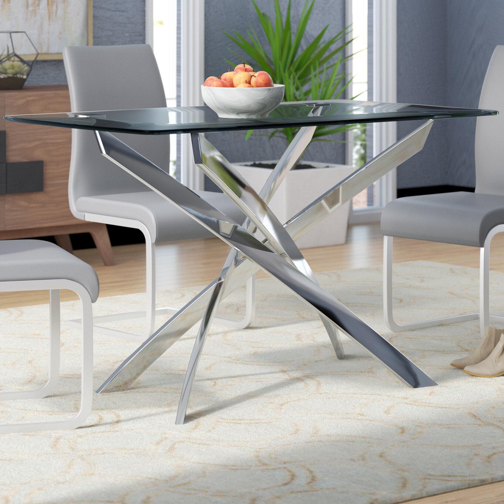 Wade logan coraline glass top modern dining table reviews wayfair