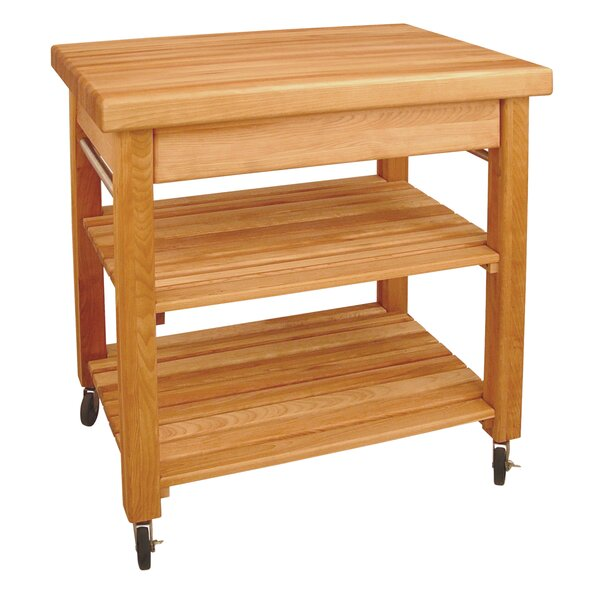 French Country Kitchen Cart with Butcher Block Top by Catskill Craftsmen, Inc.