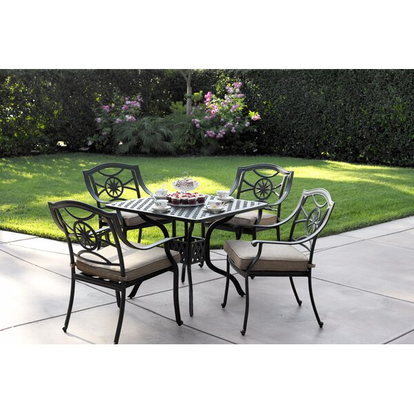 Thompsontown Traditional 5 Piece Dining Set with Cushions by Alcott Hill