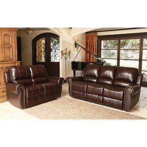 barnsdale reclining italian leather sofa and loveseat set in two tone burgundy - Reclining Leather Sofa